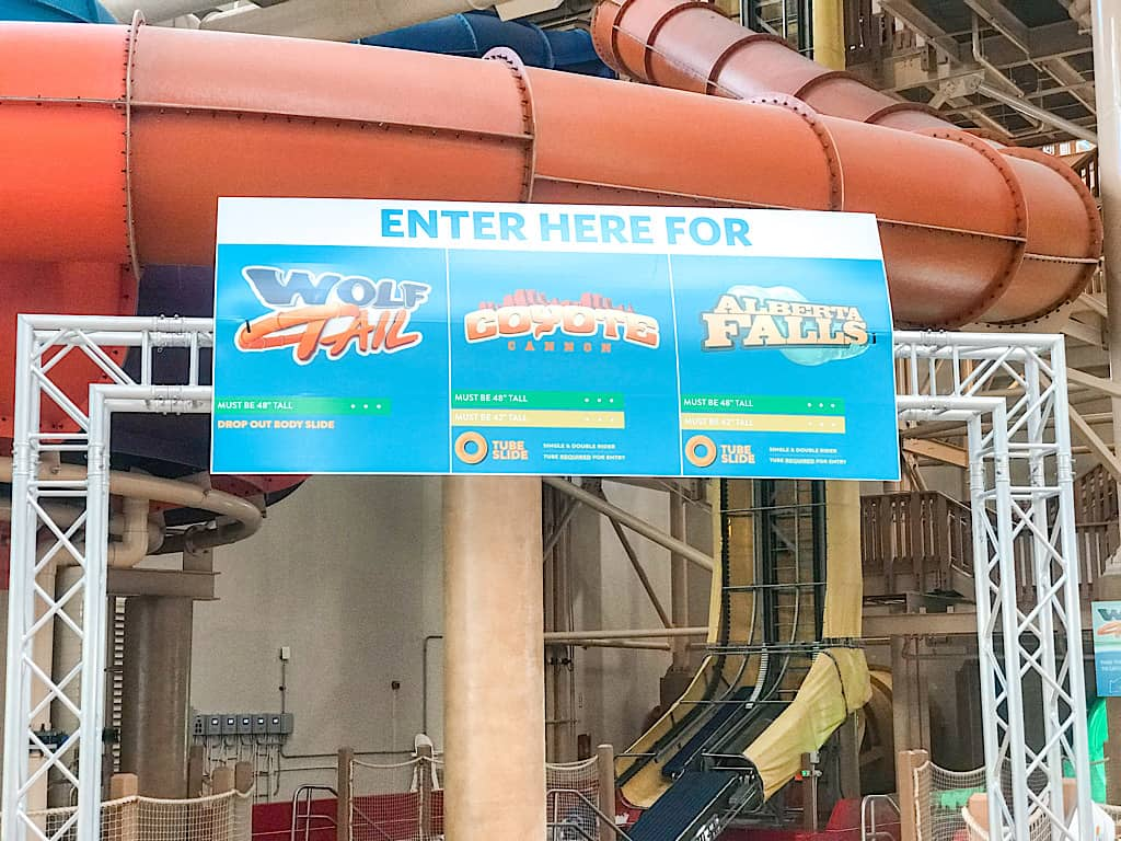 Entrance sign for Wolf Tail water slide