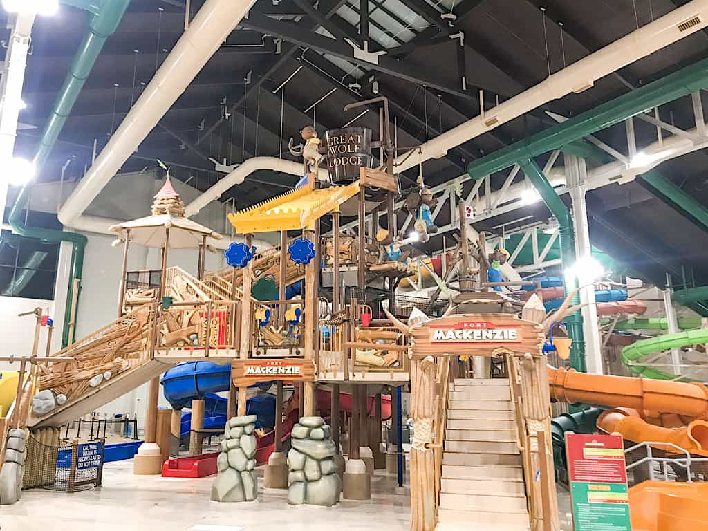 View of Fort Mackenzie water treehouse at Great Wolf Lodge