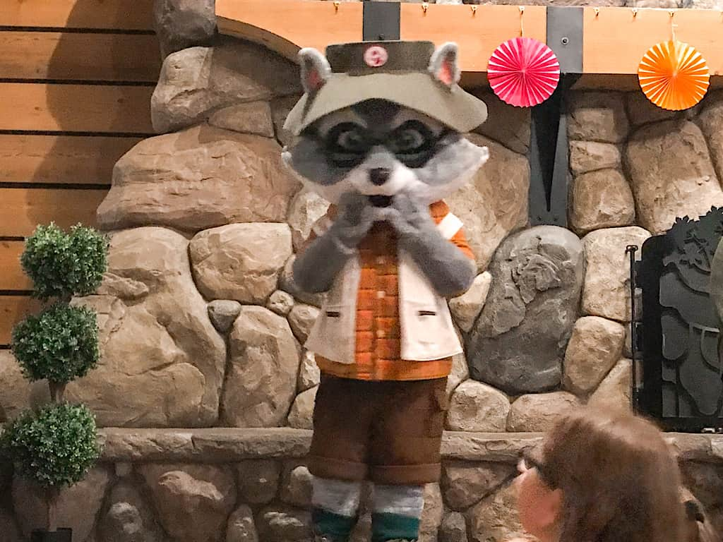 Raccoon character at Great Wolf Lodge