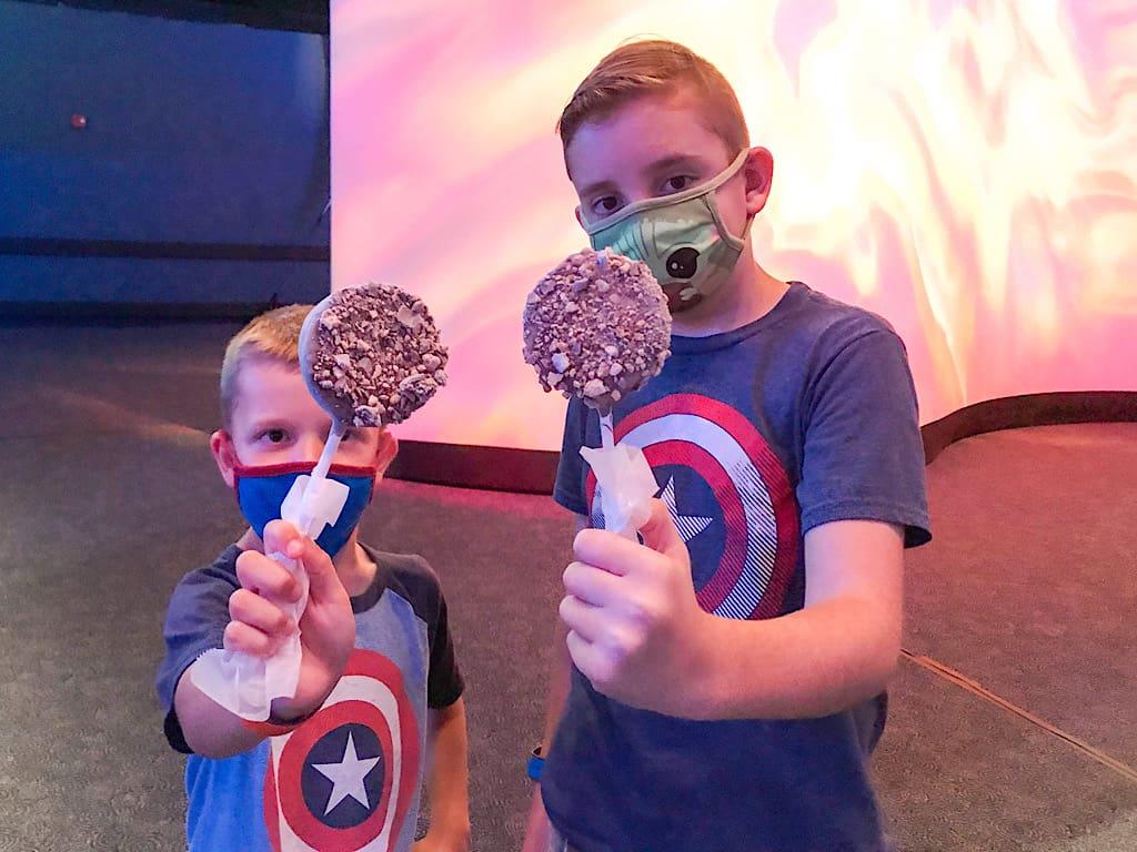 Kids eating Cake Pops at Disney World