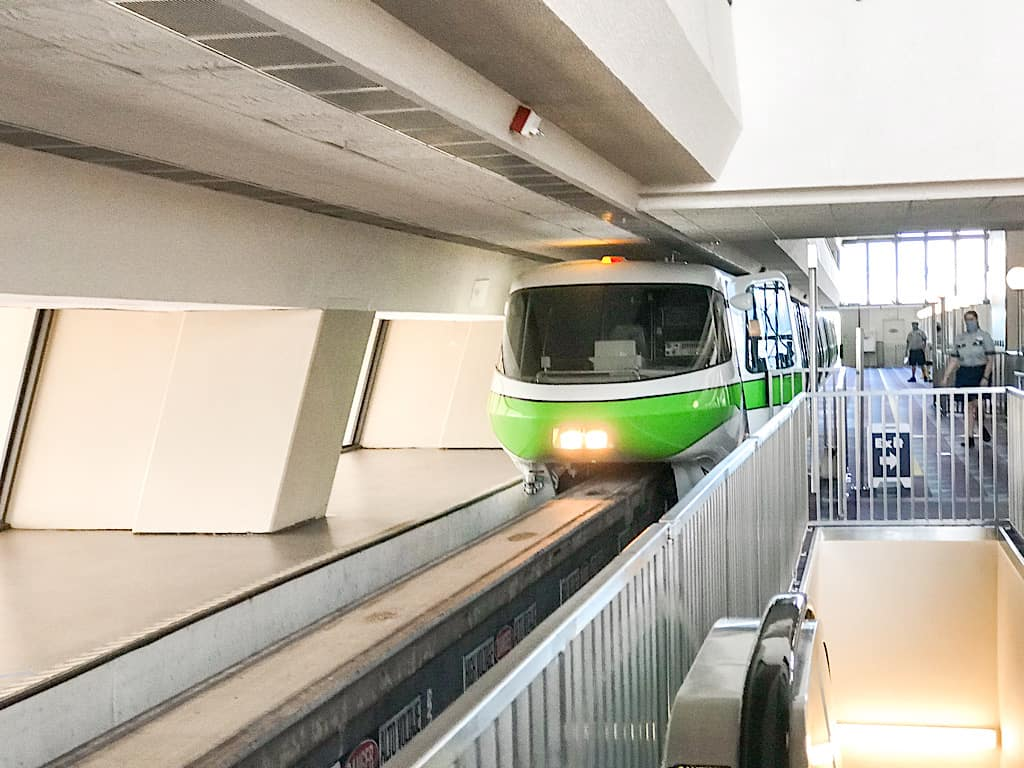 Monorail entering Disney's Contemporary Resort