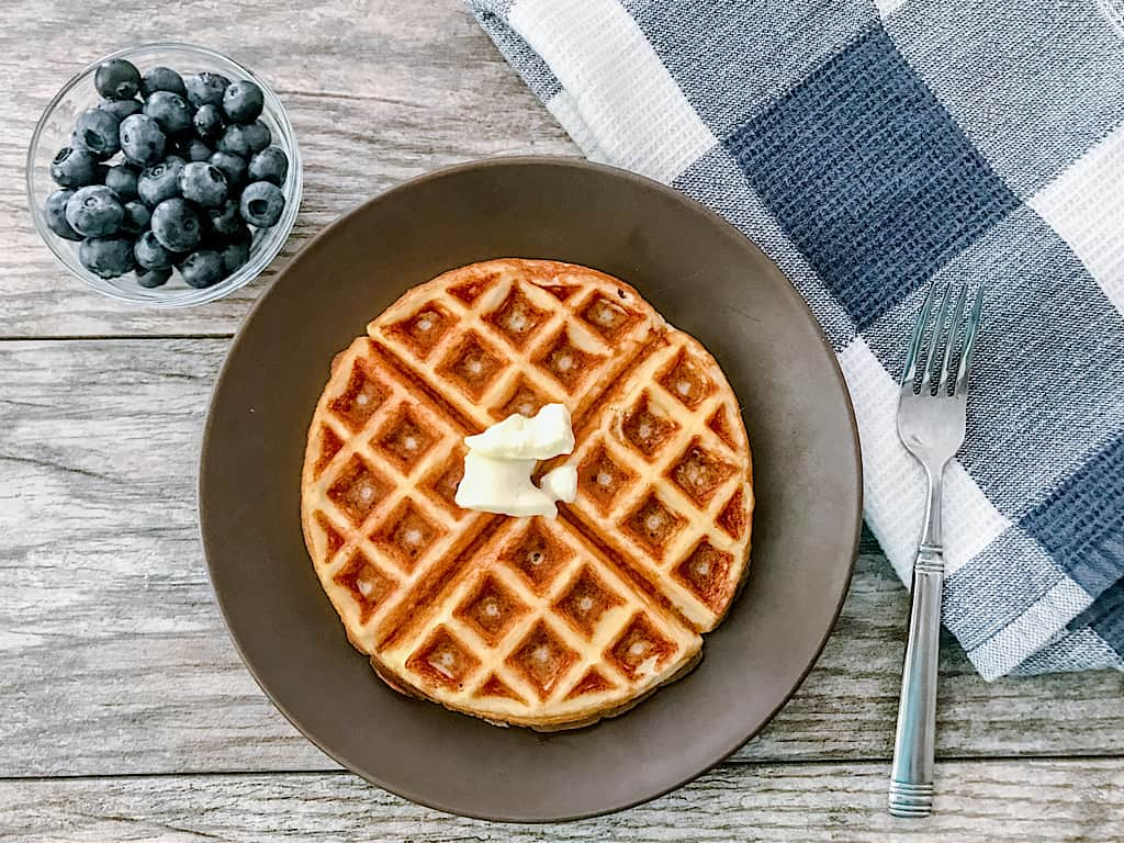 Remove the waffle from the iron and serve with your favorite low carb toppings.
