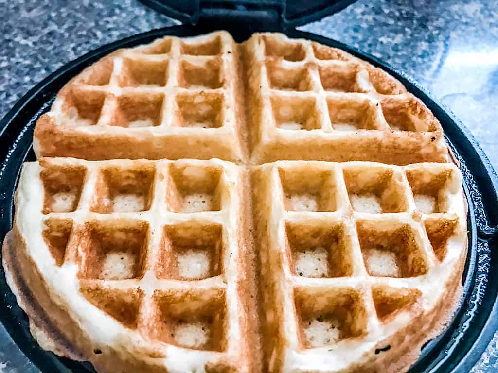 Cook the waffles in a preheated waffle iron sprayed with cooking spray.