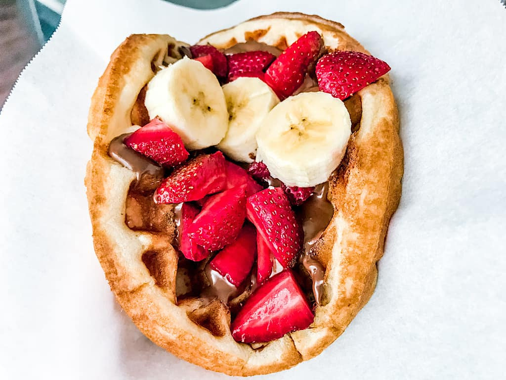 A homemade Disney Fruit Waffle Sandwich with Nutella