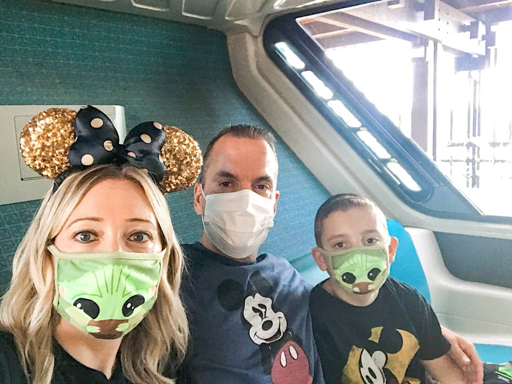 A family riding the Monorail at Disney's Contemporary Resort