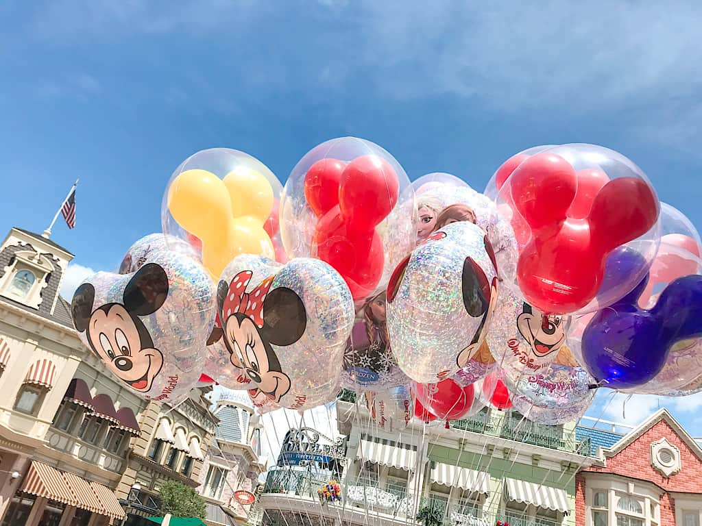 A bunch of Mickey Mouse balloons at Disney World