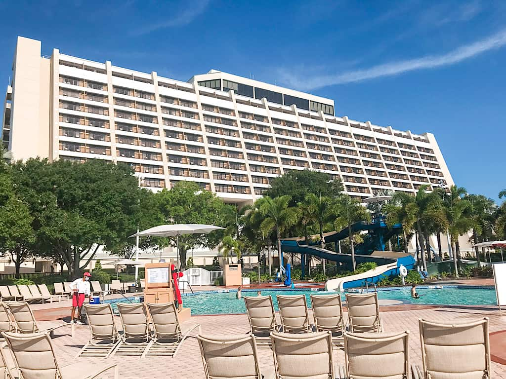 Pool area and main building at Disney's Contemporary Resort