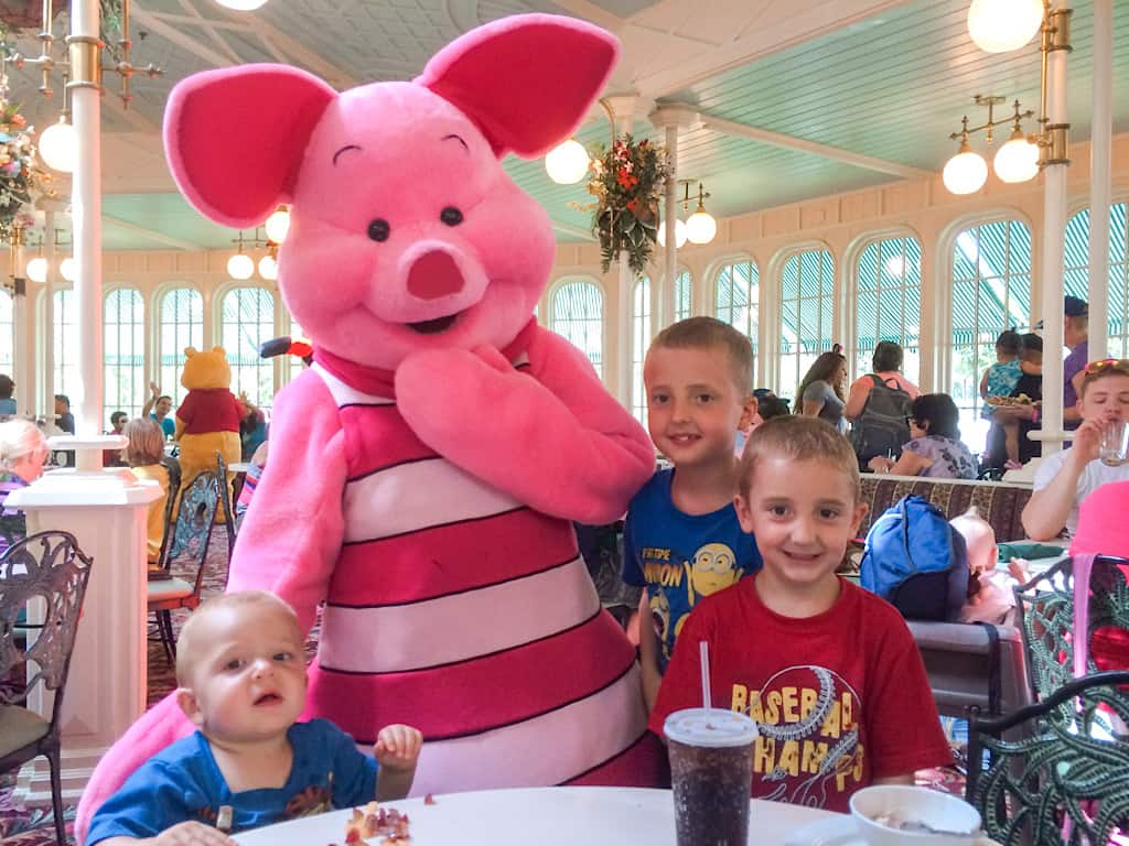 Kids with Piglet at Crystal Palace Character Dinner at Disney World
