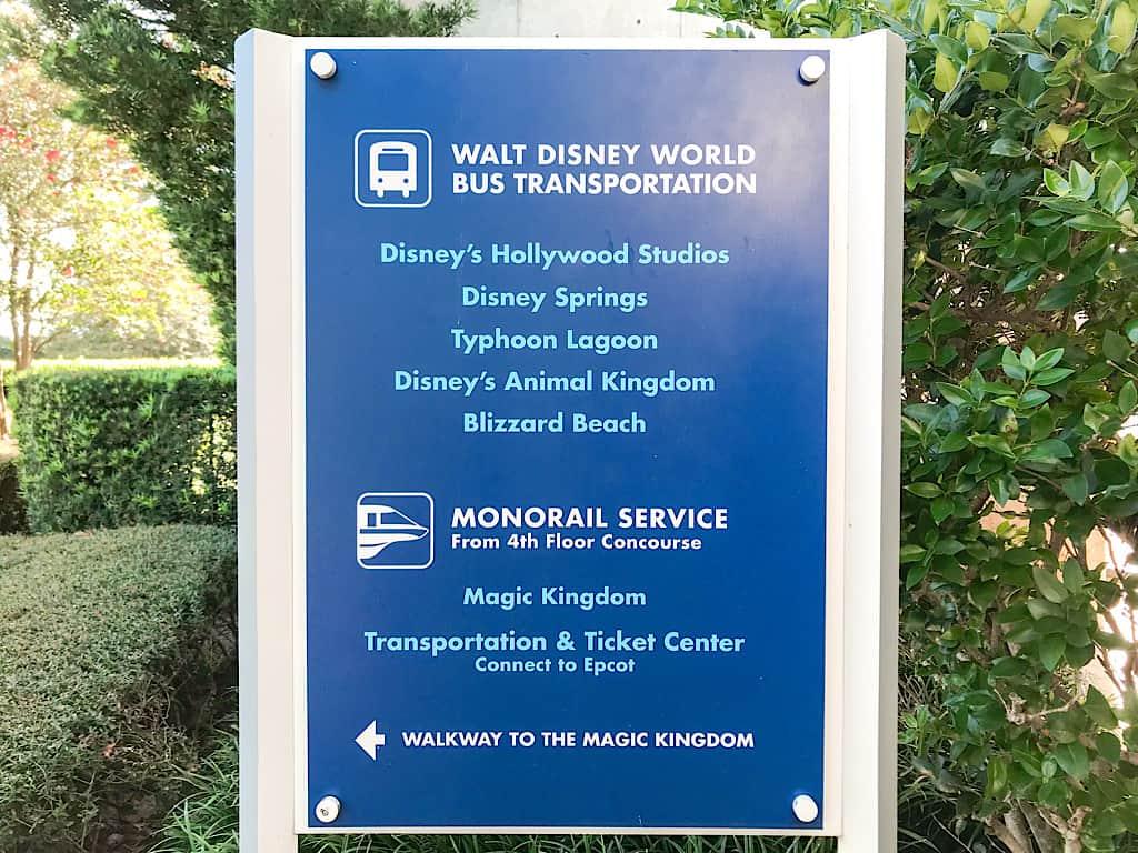 Disney World Transportation Sign at Disney World