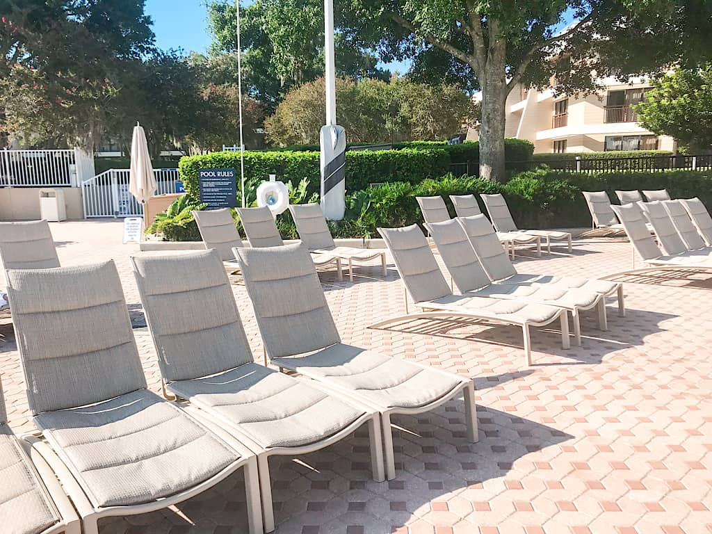 Seating at the pool of Disney's Contemporary Resort