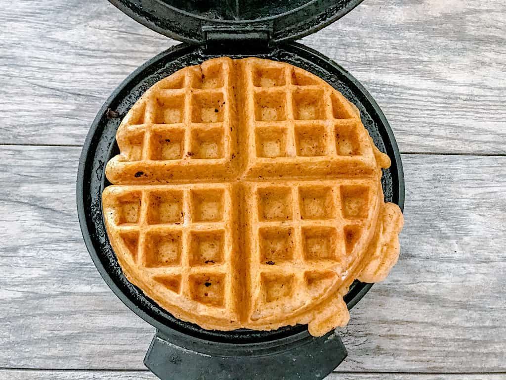 Scoop batter onto a preheated waffle iron sprayed with cooking spray and bake until golden.