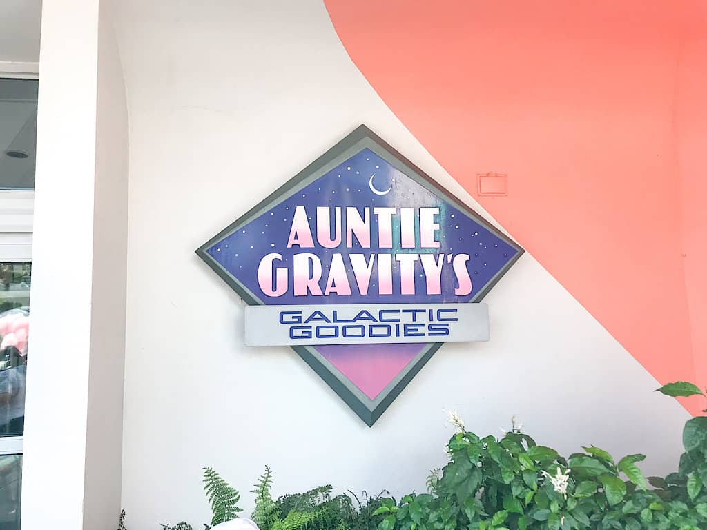 Entrance to Auntie Gravity's Galactic Goodies in Magic Kingdom