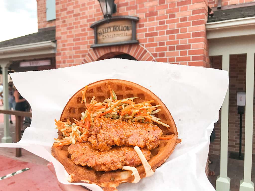 Spicy Chicken Waffle Sandwich from Sleepy Hollow at Disney World