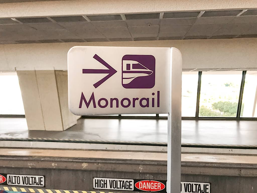 monorail sign at Disney's Contemporary Resort