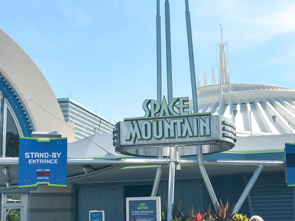 Space Mountain sign at Disney World