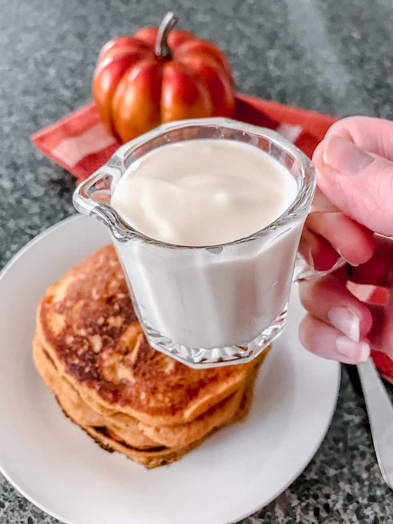 Combine the softened cream cheese, powdered sugar, vanilla, and milk until smooth.
