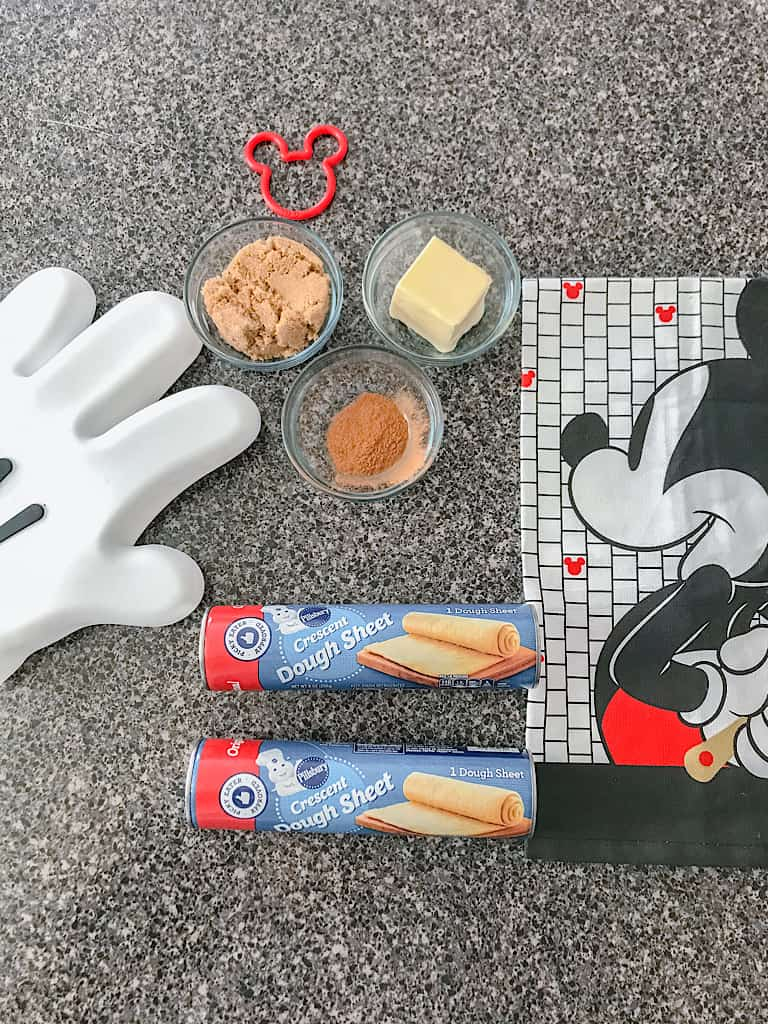 Ingredients for Mickey Mouse Cinnamon Rolls: 2 Cans Refrigerated Crescent Roll Dough Sheets, 1/4 Cup Butter, softened, 1/2 Cup Brown Sugar 2 Teaspoons Cinnamon
