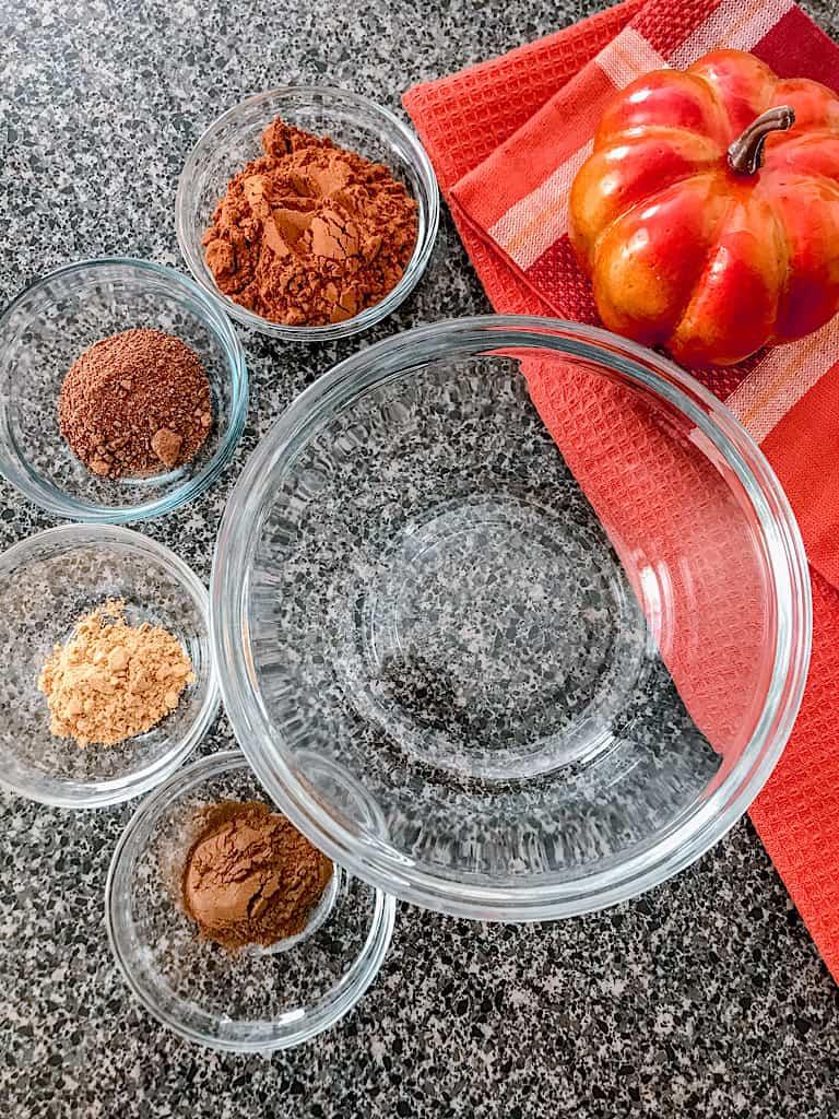 Ingredients to make pumpkin spice