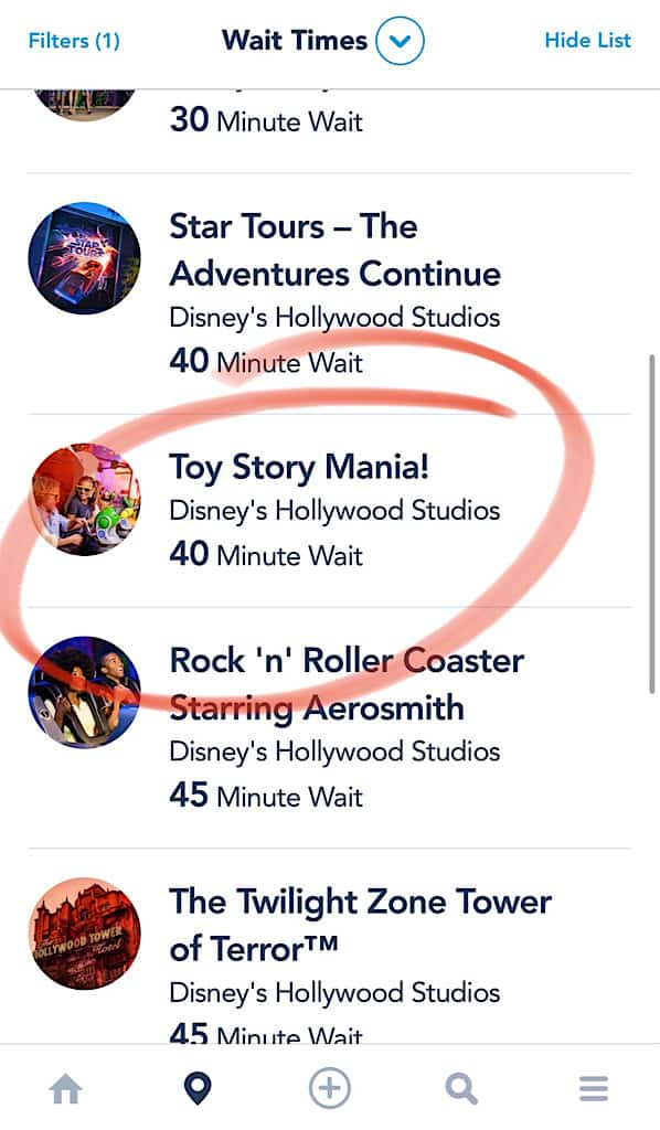 Wait time for Toy Story Midway Mania in the My Disney Experience App