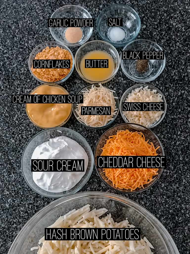 Ingredients for three cheese funeral potato casserole