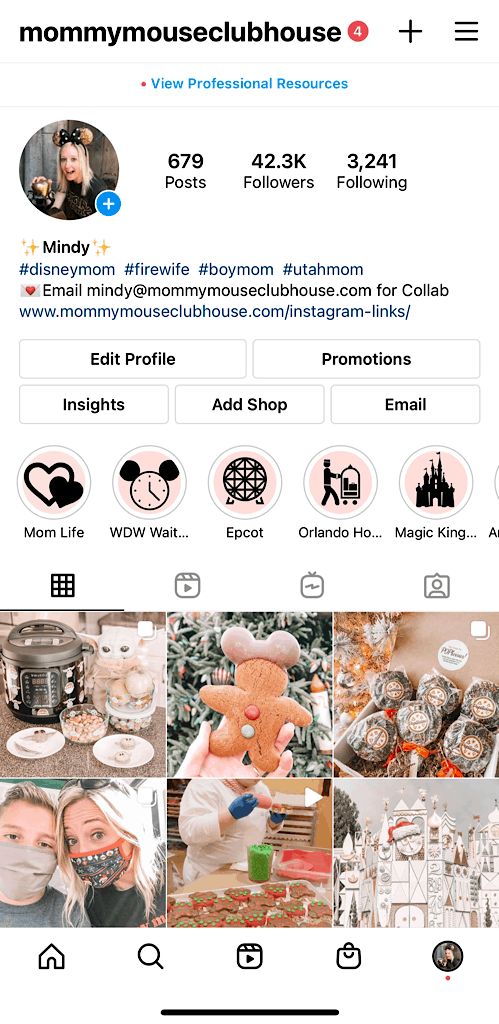 Screenshot of Mommy Mouse Clubhouse on Instagram