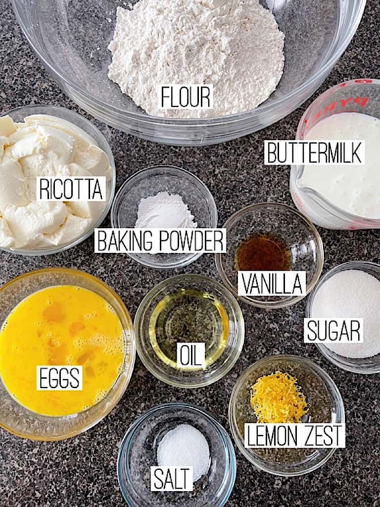 Ingredients for Lemon Ricotta Pancakes