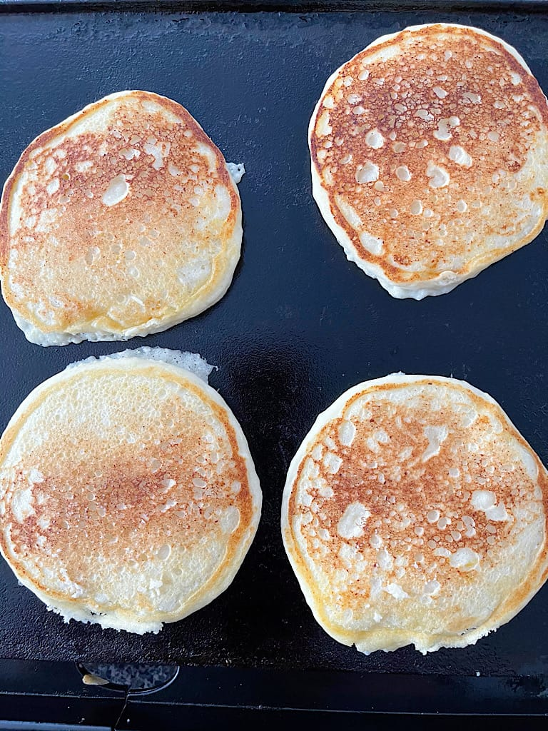 Remove the pancakes from the griddle and enjoy with your favorite toppings!