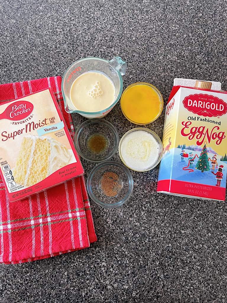 Ingredients for Eggnog Bundt Cake