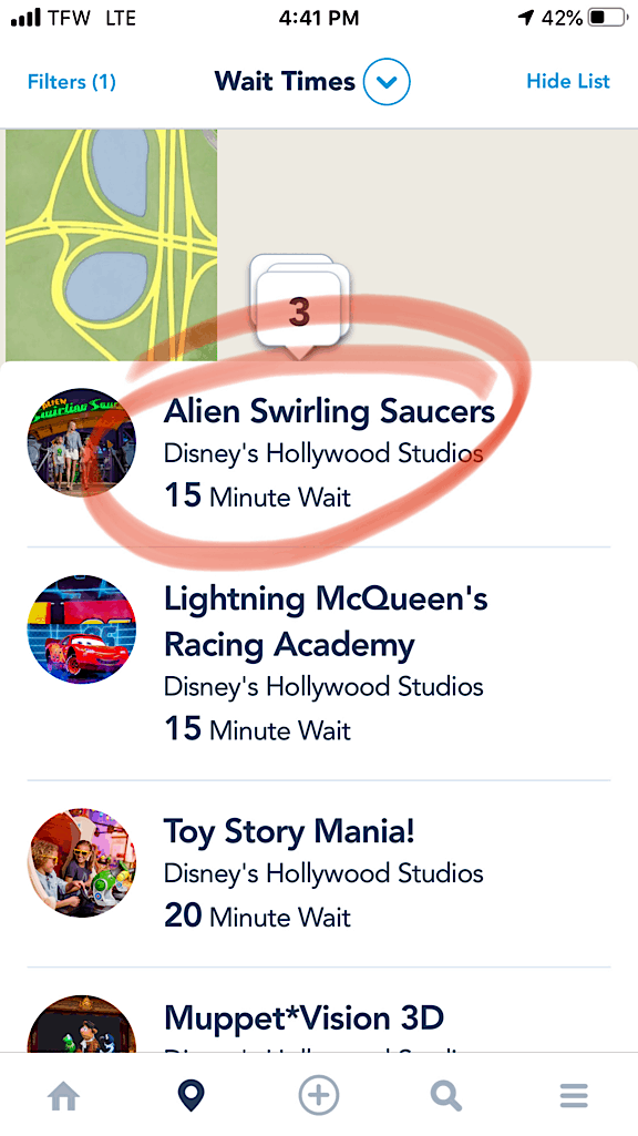 Disney World App wait time for Alien Swirling Saucers