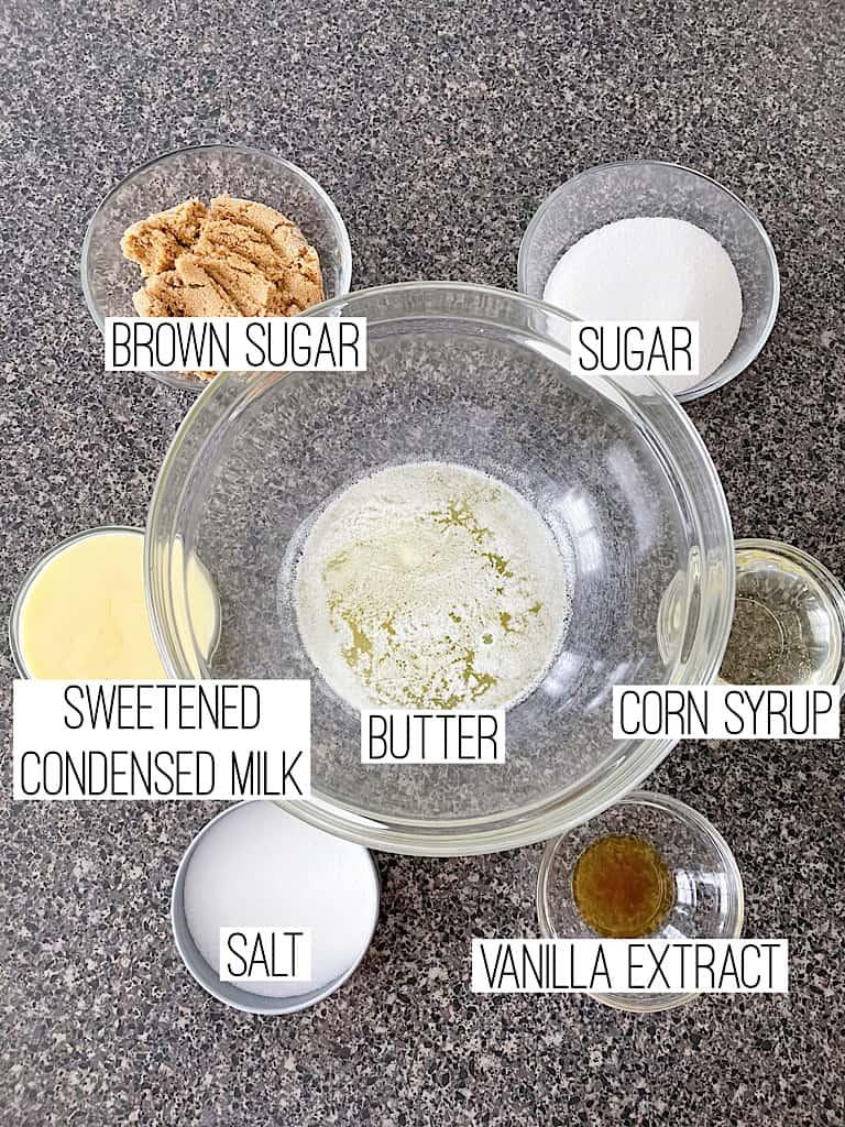Ingredients to make Microwave soft caramels