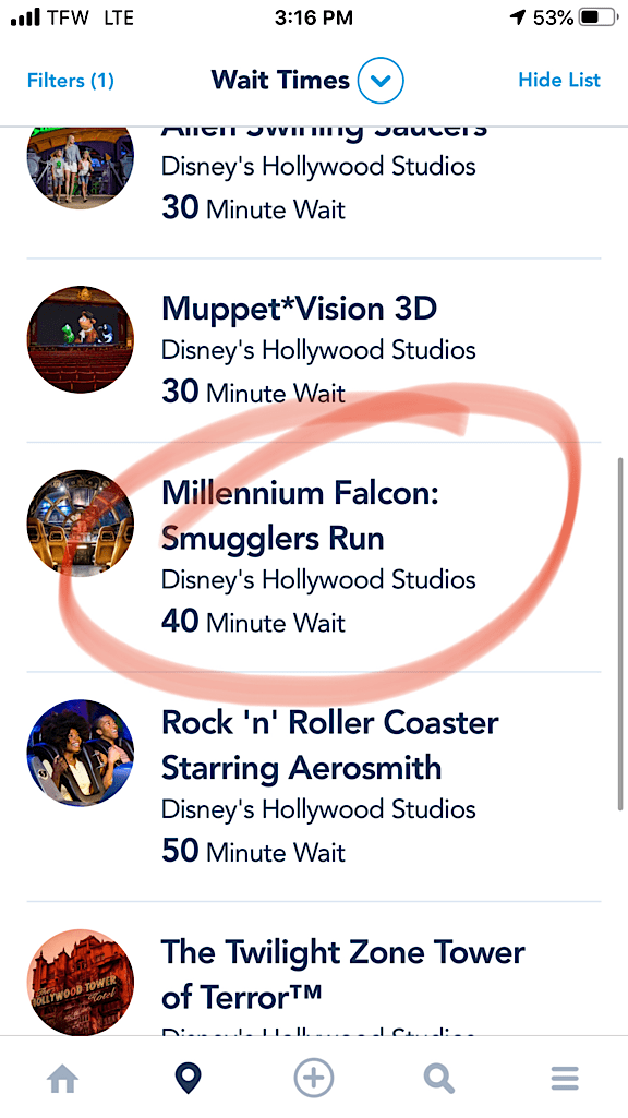 Wait time for Millennium Falcon: Smuggler's Run at Disney's Hollywood Studios