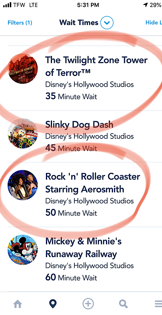 Screenshot of Disney World wait times My Disney Experience app