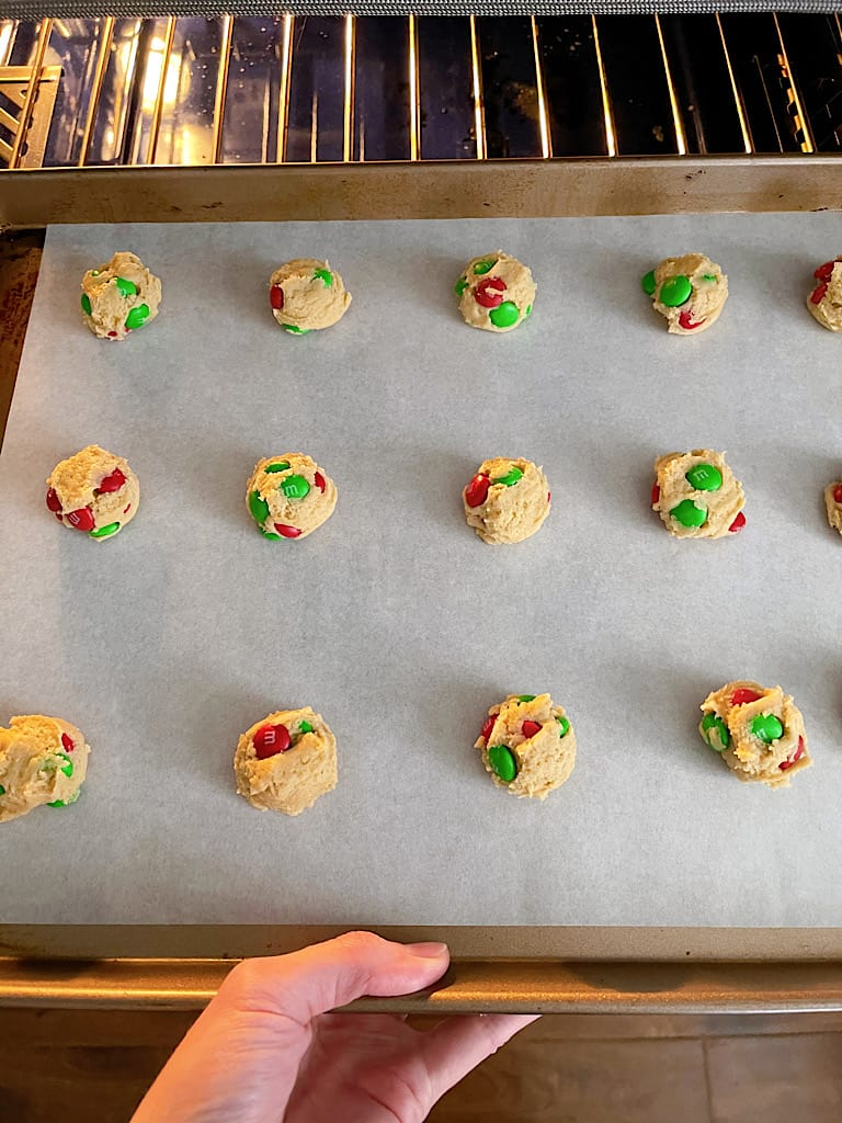 Bake the cookies at 350 degrees for 8-9 minutes. Do not over bake, the cookies will become firm as they cool.