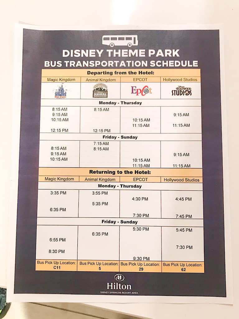 Disney World Shuttle Schedule from Hilton Lake Buena Vista Palace