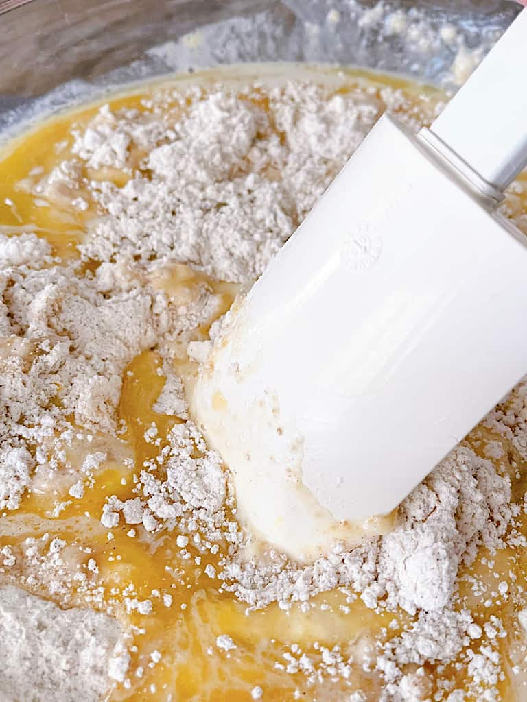 Combine the wet and dry ingredients until just moistened. Do not over mix.