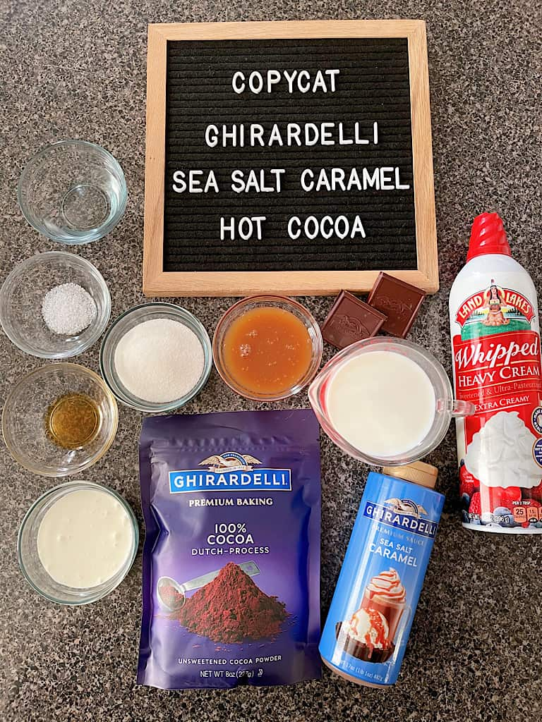 Ingredients for Ghirardelli Sea Salt Caramel Hot Cocoa