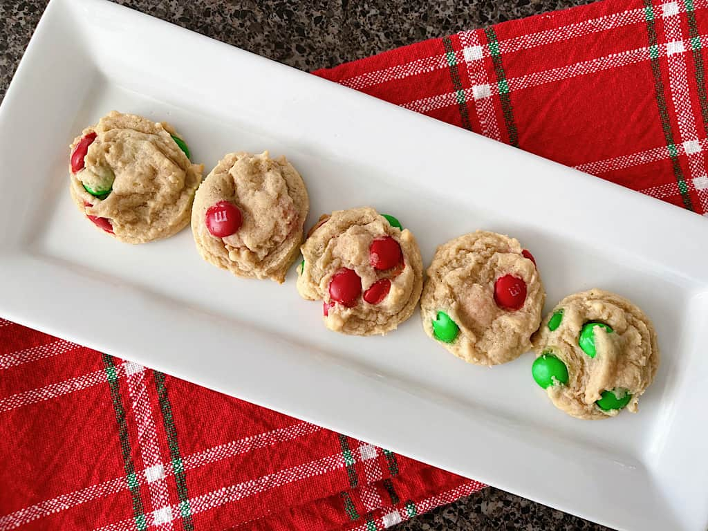 A plate of Cream Cheese Cookies with Christmas M&Ms