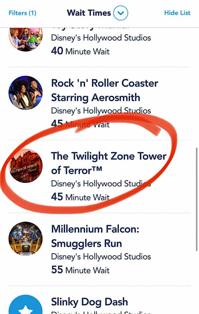 Screenshot of Tower of Terror Wait Time in My Disney Experience App