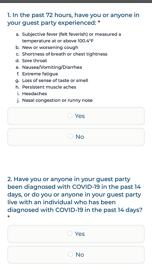 Health Questionnaire from Great Wolf Lodge
