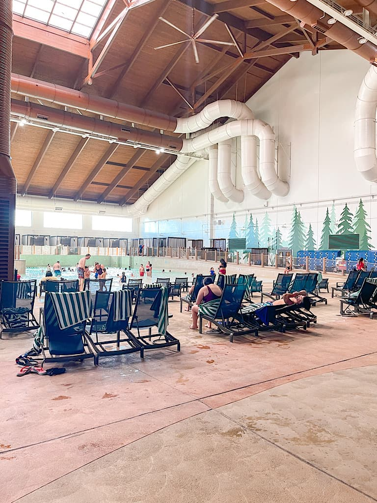Socially distanced pool chairs at Great Wolf Lodge during COVID