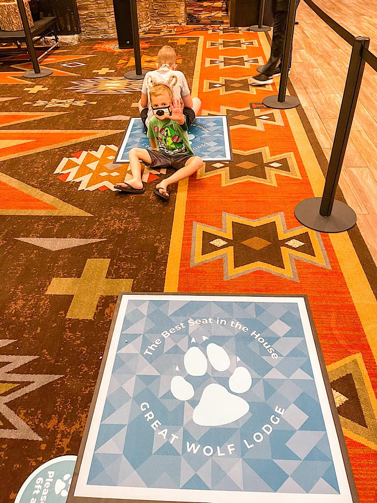 Social distancing marker for story time at Great Wolf Lodge during COVID