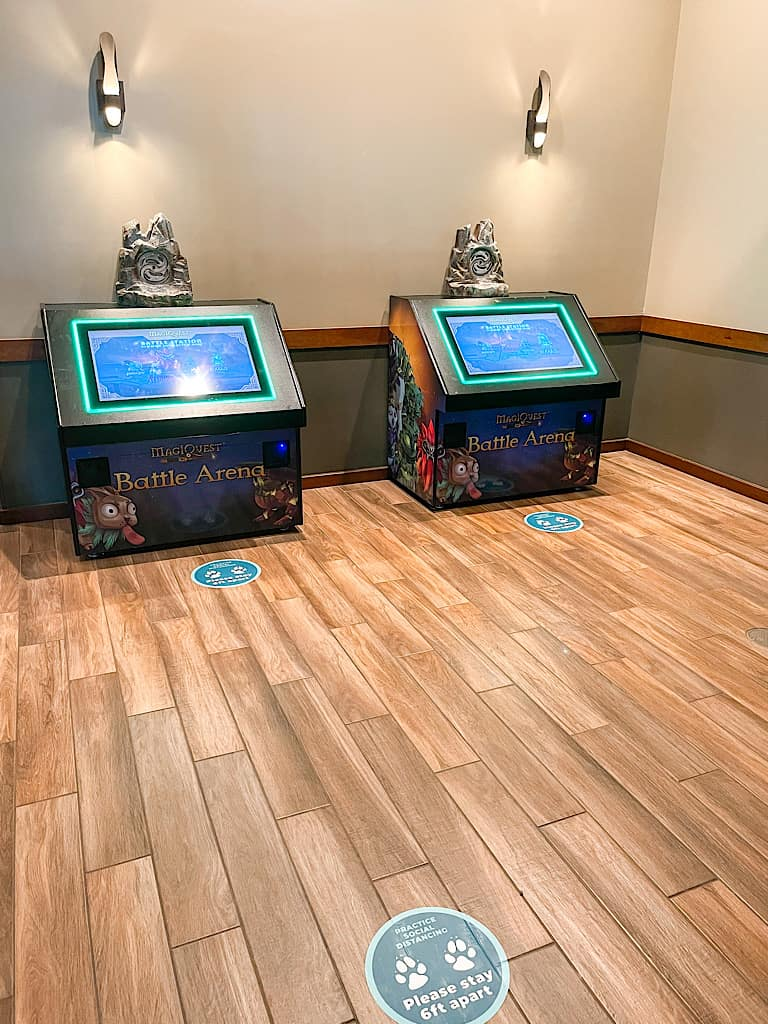 Social distancing markers near MagiQuest games at Great Wolf Lodge during COVID
