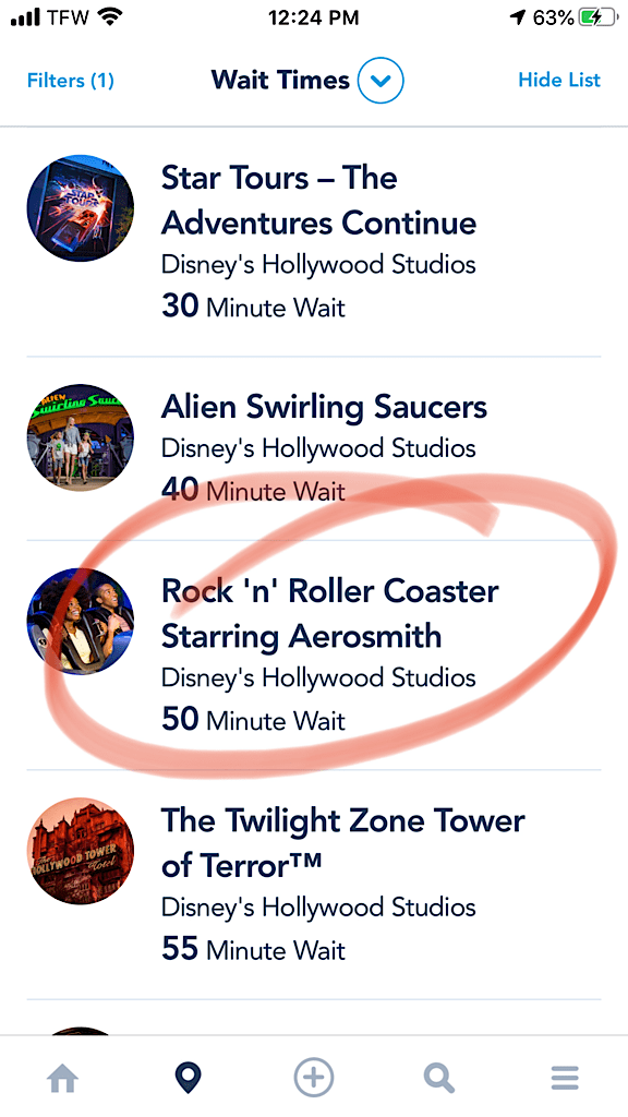 Posted Wait Time for Rock 'n' Roller Coaster at Disney World