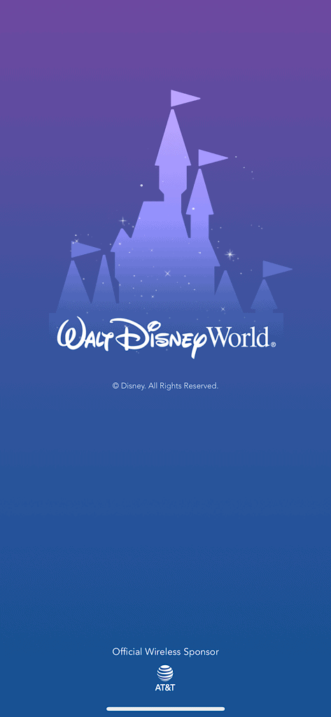 Opening page of the My Disney Experience App