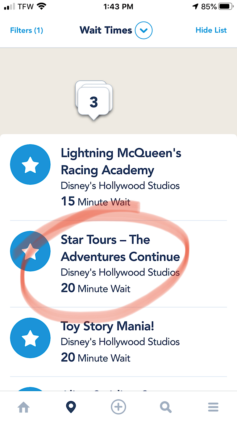 Disney World App wait time for Star Tours