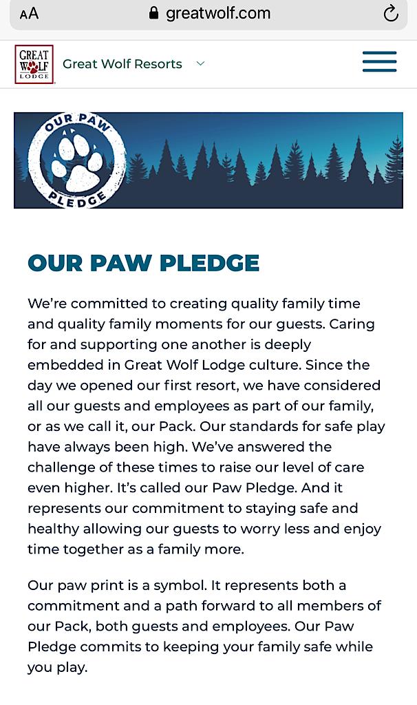 Great Wolf Lodge's Paw Pledge
