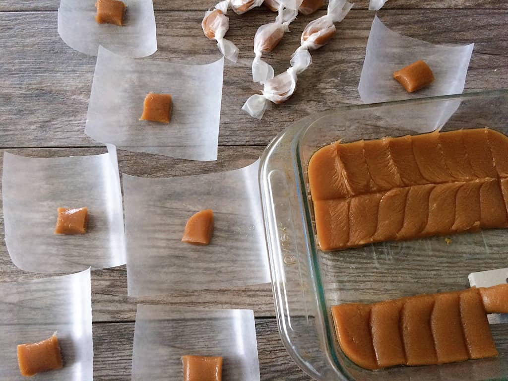 Cut the caramels into your desired shape and size and wrap in wax paper.