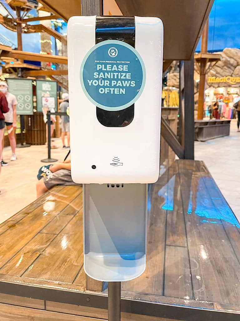 Hand sanitizing station at Great Wolf Lodge in Arizona during COVID