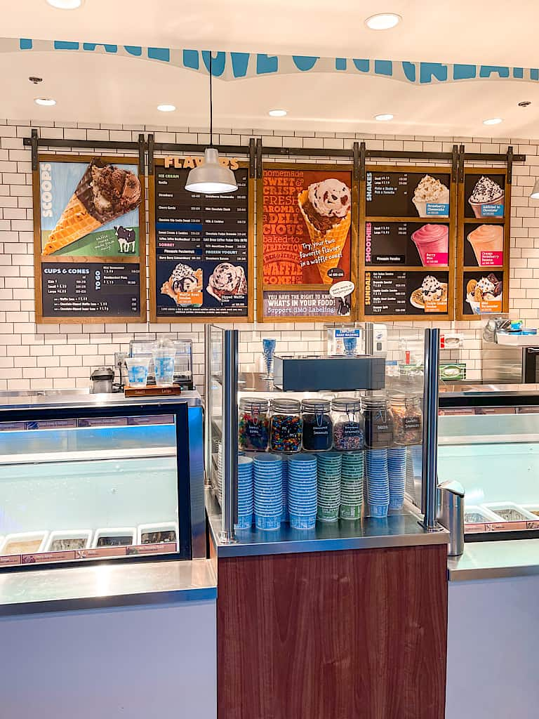 Ice cream menu at Ben & Jerry's inside Great Wolf Lodge