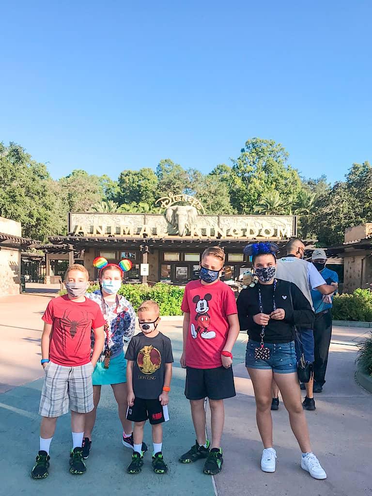 Kids at Animal Kingdom wearing face masks